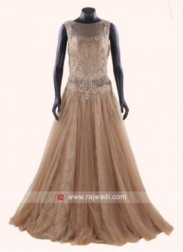 Golden Salli Work Fairy Gown