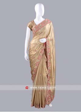 Golden Sari with Contrast Blouse