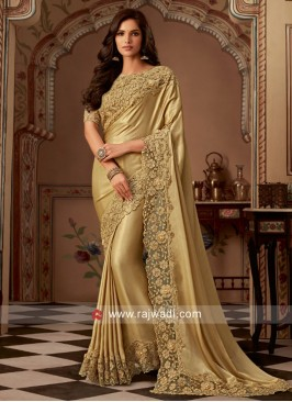 Golden Satin Silk Saree
