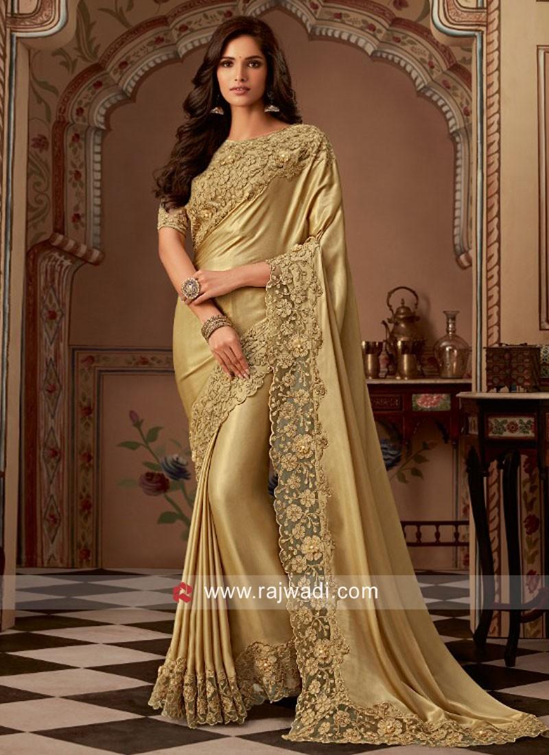 Golden Satin Silk Saree