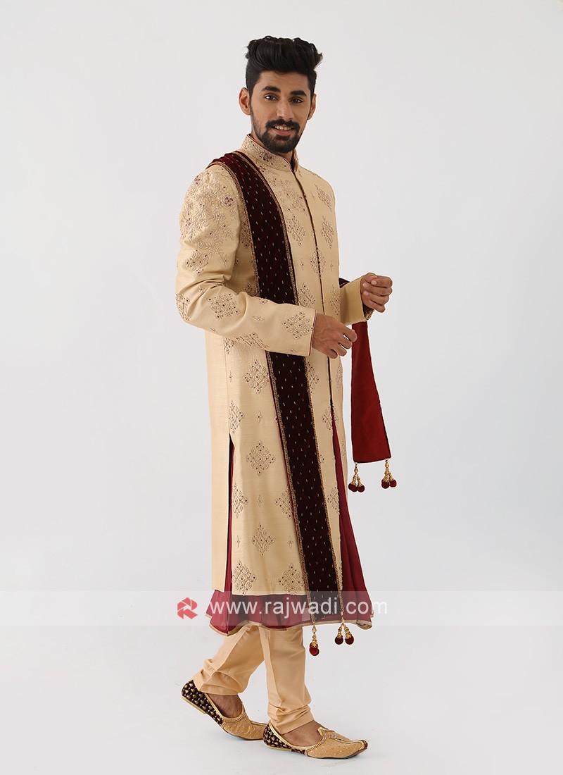 Golden Sherwani For Wedding