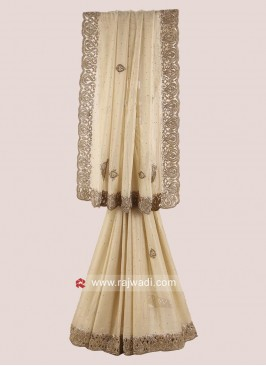 Golden Shimmer Chiffon Party Wear Saree