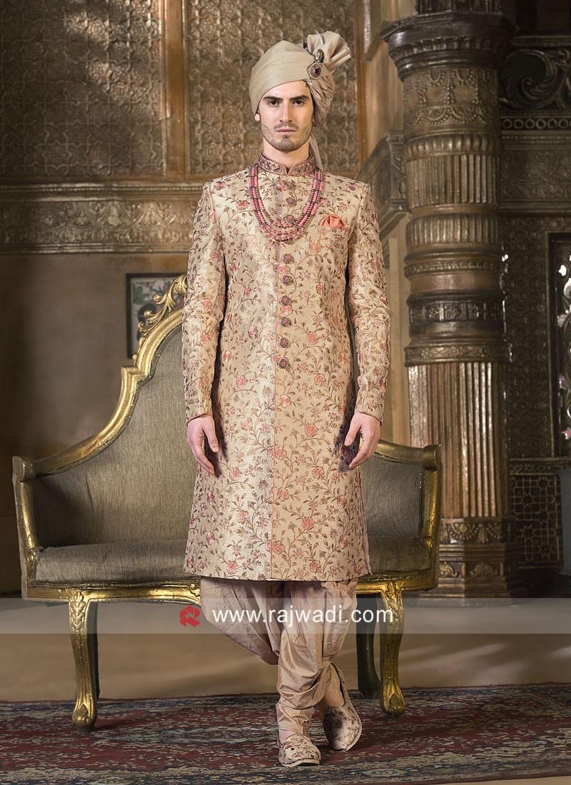Golden Silk Fabric Mens Indo Western