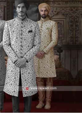 Golden Silk Sherwani For Wedding