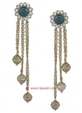 Golden Studded Drop Earrings
