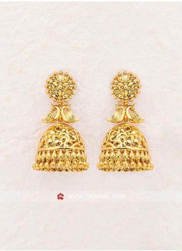 Golden Studded Jhumki Earrings