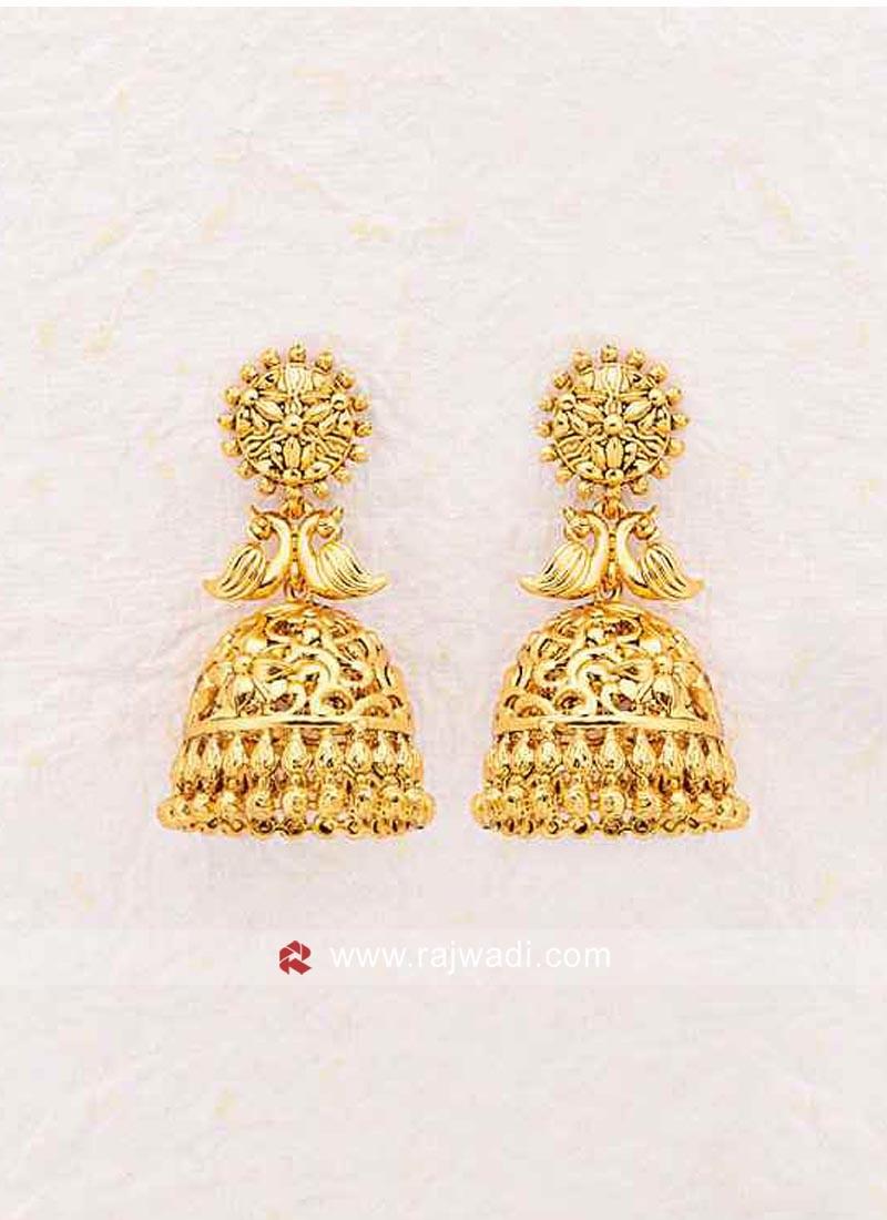 Golden Studded Jhumki Earrings