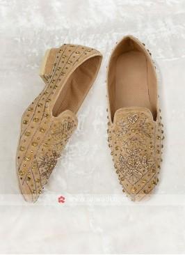 Golden Velvet Mojari For Wedding
