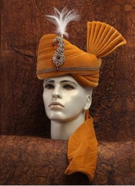 Golden Velvet Wedding Turban