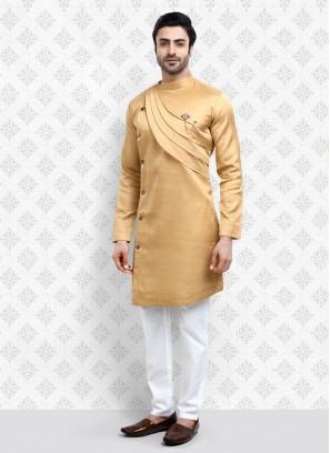 Golden And White Color Kurta Pajama