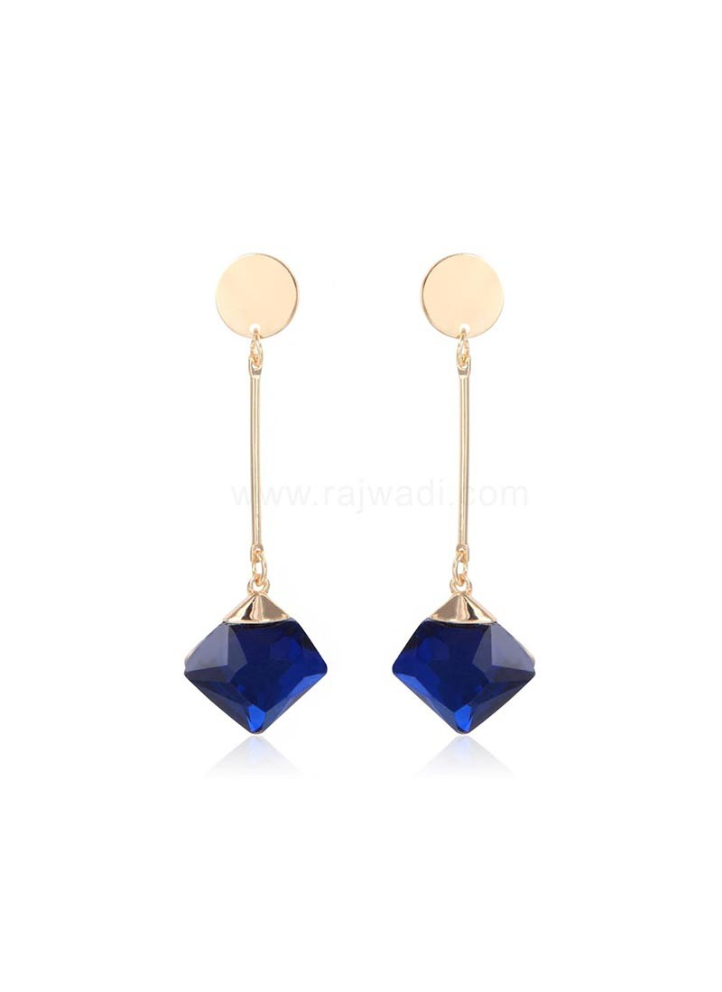 Golden with Blue Crystal Drop Earrings