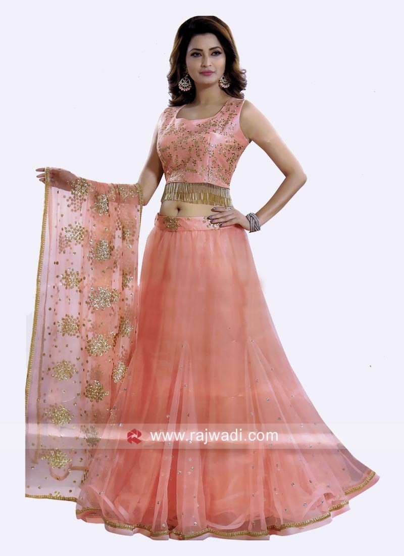 Golden Work Peach Lehenga Set