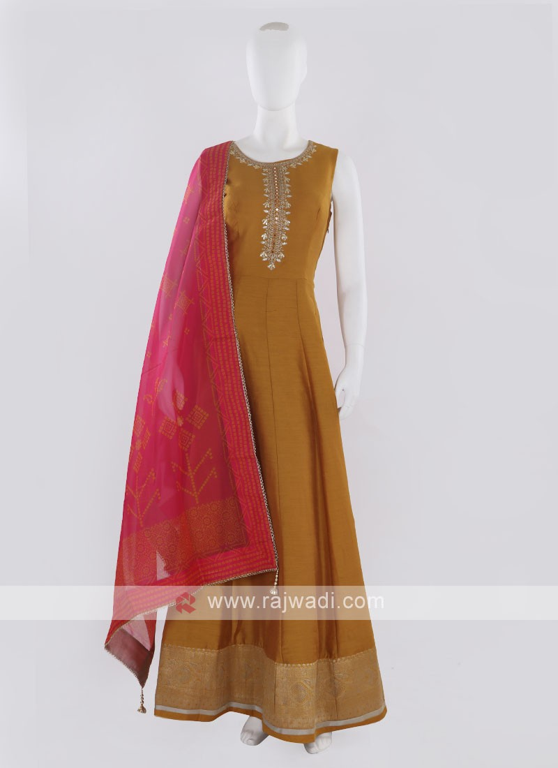 Golden Yellow Anarkali Suit with dupatta