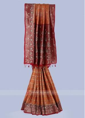Golden Yellow And Maroon Banarasi Silk Saree