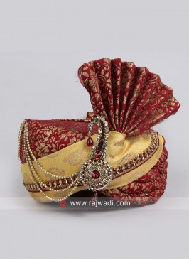 Red and Golden color Wedding Safa