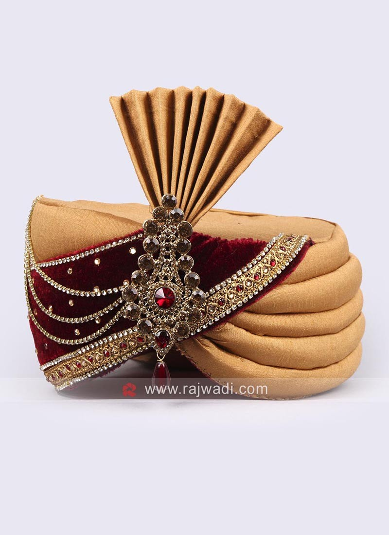 Golden Yellow and Maroon Combination Safa
