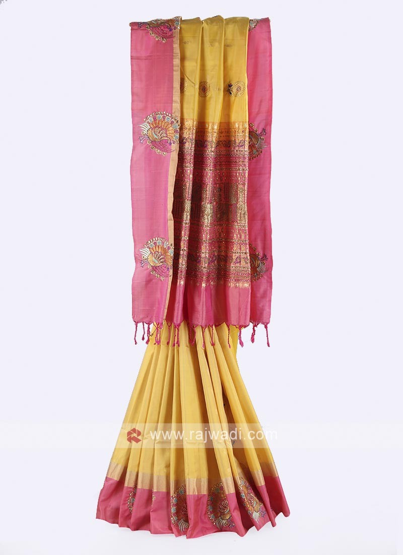 Golden yellow and pink color pure silk saree