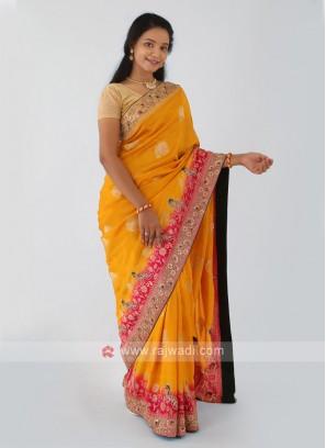 Golden Yellow And Rani Banarasi Silk Saree