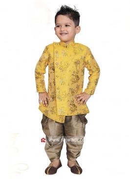 Golden yellow Art Silk Boys Indo Western