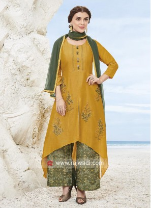 Golden Yellow Asymmetrical Palazzo Suit