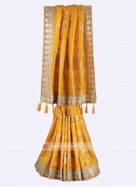 Golden yellow banarasi silk saree