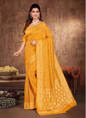 Golden Yellow Banarasi Silk Saree