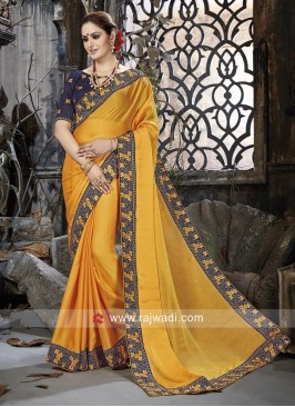 Golden Yellow Border Work Saree