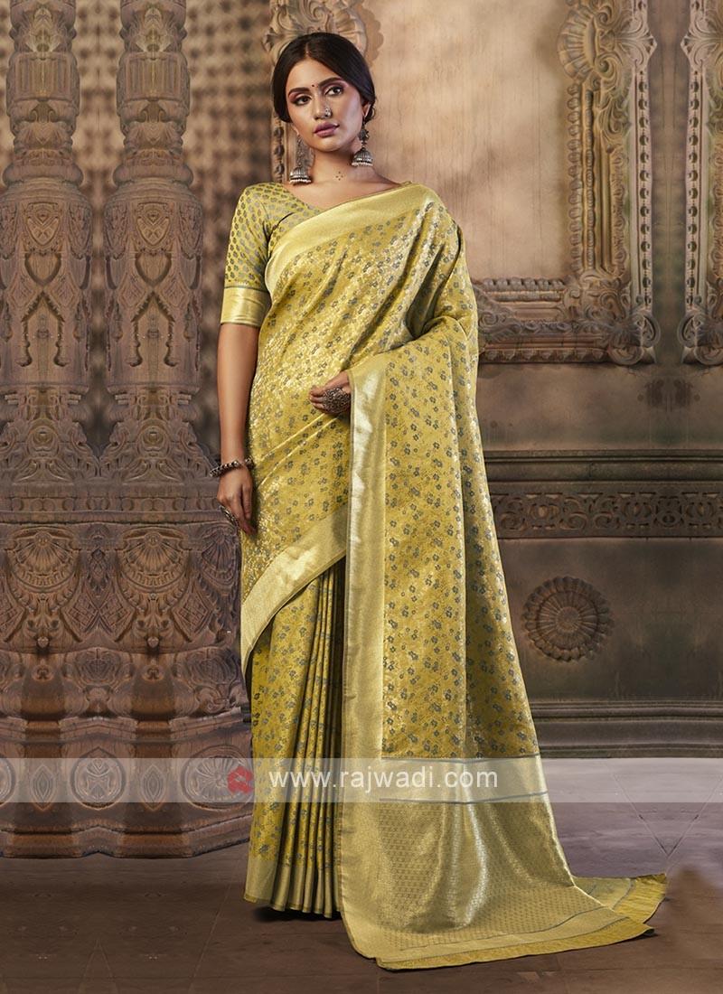 Golden Yellow Color Banarasi Silk Saree