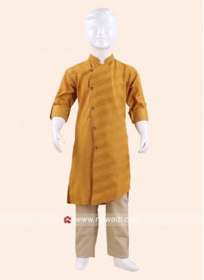 Golden Yellow Color Cotton Silk Pathani