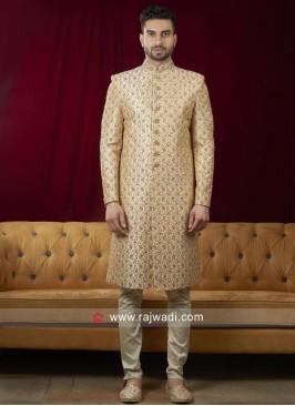 Golden Cream Sherwani For Wedding