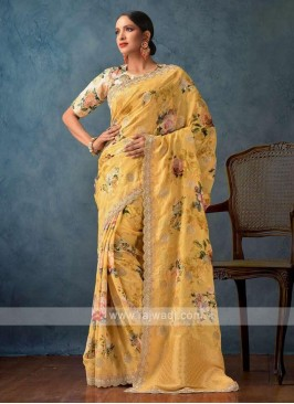 golden yellow color khadi fabric saree