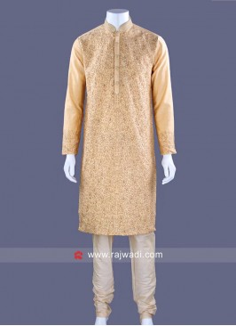 Golden Yellow Color Kurta Pajama With Thread Work