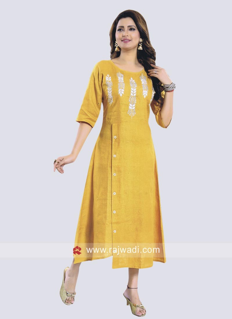 Golden Yellow Cotton Kurti