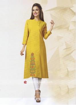Golden Yellow Cotton Silk Kurti
