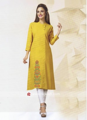 Golden Yellow Cotton Silk Kurti