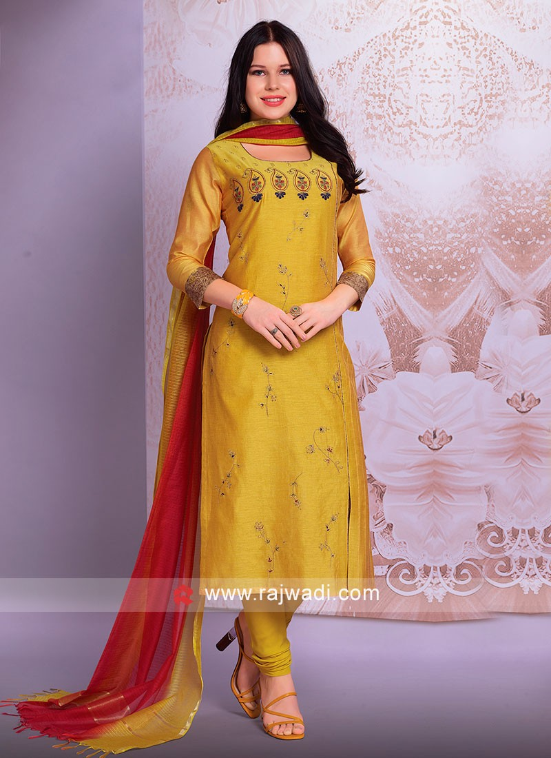 Golden Yellow Cotton Silk Salwar Suit