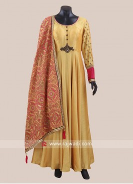 Golden Yellow Designer Anarkali Suit