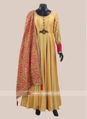 Golden Yellow Designer Anarkali Suit