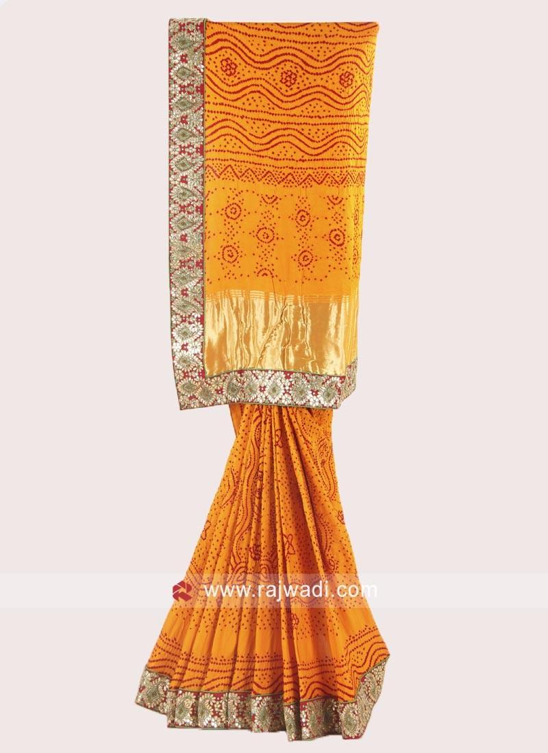 Golden Yellow Designer Saree