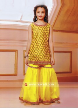 Golden Yellow Eid Special Palazzo Suit for Kids