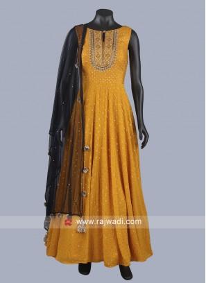 Golden Yellow Floor Length Anarkali Suit