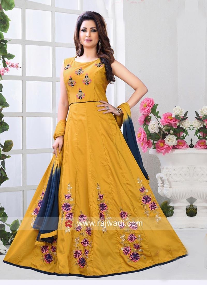 Golden Yellow Flower Work Anarkali Suit