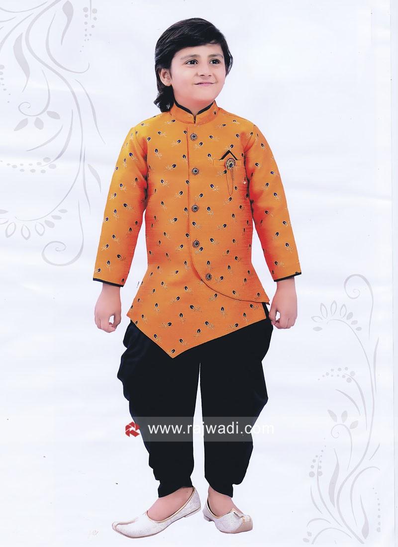 Orange Indo Western For Boys