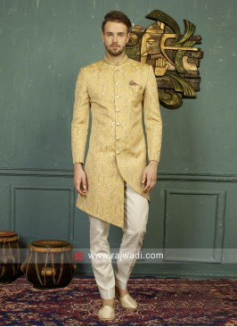 Golden Yellow Mens Indo Western