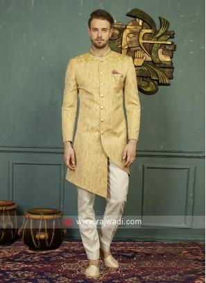 Golden Yellow Mens Indo Western