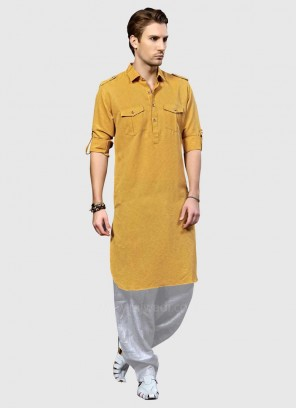 Golden Yellow Mens Pathani Suit