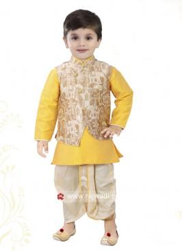 Golden Yellow Nehru Jacket For Boys