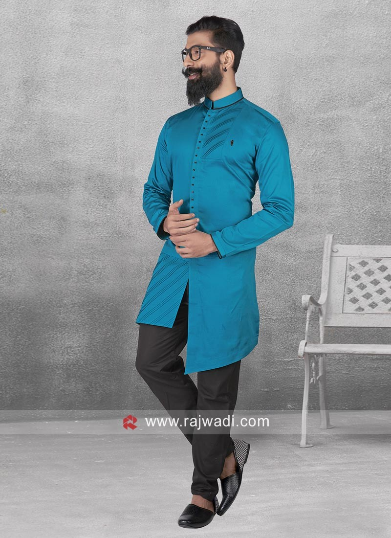 Stylish Blue Color Pathani With Fancy Button
