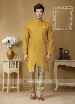Golden Yellow Pathani Set For Party