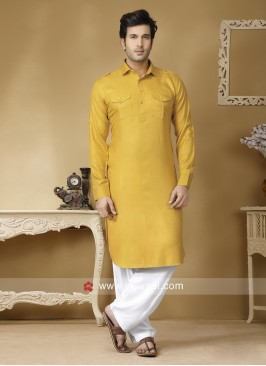 Golden Yellow Pathani Suit